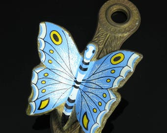 Vintage Butterfly Clip Receipt Note Holder Enamel Allied Brass