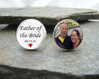 Father of the Bride Photo Cufflinks, wedding date cufflinks