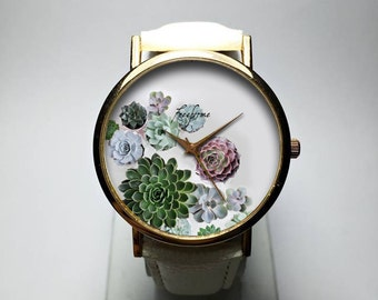 Watch. Watches for Women. Cactus. Wrist Watch. Jewelry. Succulents. Plants. Print. Leather. Gift for Her. Gardening. Indoor. Custom.