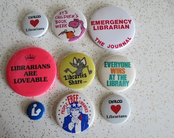Collection of Nine Vintage Librarian and Book Lover Pinback Buttons