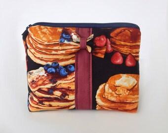 Pancake Makeup Bag / Cosmetics Pouch / Pancakes / Makeup Clutch / Zipper Make Up Bag / Breakfast / Accessories / Bow Clutch