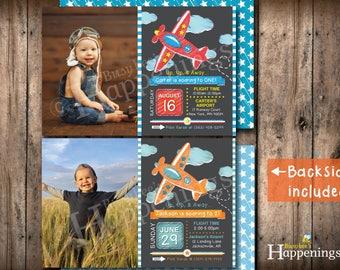 Airplane Birthday Invitation Plane Invitation Airplane Invitation Pilot Invitation Plane BIrthday  Digital File by Busy bee's Happenings