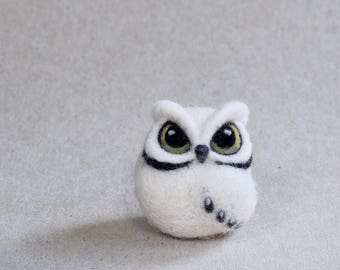 needle felted OWL by The Lady Moth - miniature owl - white owl - horned owl - mini owl - cute owl - tiny owl - UK