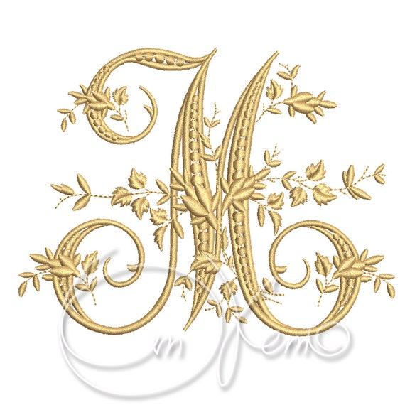Machine embroidery design victorian letter m