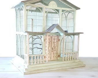 Huge Vintage Bird House ~ Wood/ Metal Bird Cage / Sage Green / Grey / Farm Wedding Decor
