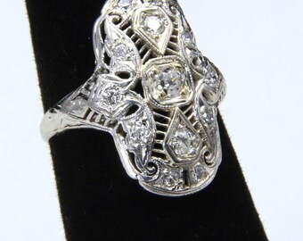 Vintage Stunning Art Nouveau Platinum & 18k White Gold Diamond Ring Sz 5.5