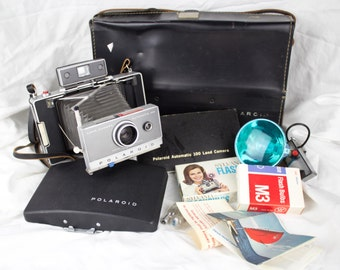 60's Polaroid Automatic Land Camera Model 100 With Flash & Accessories