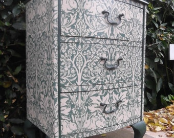 Bow Fronted Bedside restyled in William Morris Brer Rabbit
