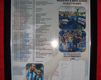 Brighton & Hove Albion Championship runners-up 2017 - Brighton promoted - souvenir print