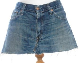 Vintage Levi's 527 Faded Blue Mini Skirt W30 12 - www.brickvintage.com