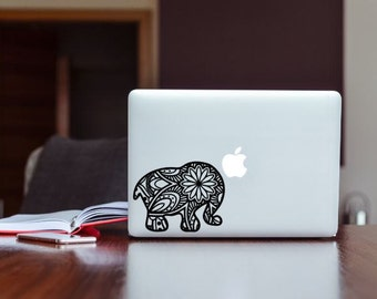 Boho Mandala Elephant Vinyl Decal, Phone Decal, Laptop Decal, Car Decal, Choose Color And Size