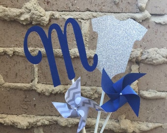 Baby Shower Centerpiece | Glitter onsie bodysuit | Name Initial | Paper Pinwheels Party Decoration |  Table Decor | Photo Prop | Baby Decor