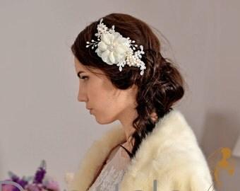 Bridal Headpiece- Rustic Wedding hair flower- Wedding Hair piece- Bridal Hair piece- Bridal Hair  -  Ivory Cream Wedding Hair Comb - DIANNE