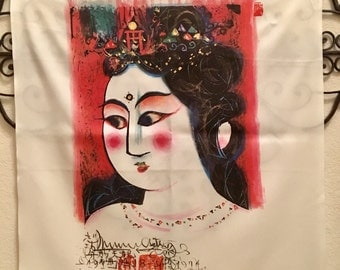Exquisite Vintage Japanese Geisha Silk Painted Square 28 x 28 White Artistic Scarf