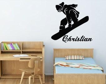 Snowboard Wall Decal Etsy - Custom die cut vinyl stickers snowboard