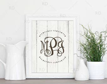 Monogram name art - PRINTABLE wall art / Laurel Monogram name art / You choose monogram font! / Wooden background monogram / Couple monogram