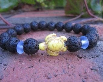 lava stone grounding calming black beaded yellow turtle bracelet blue glass bracelet mens beaded bracelet stretch bracelet women's bracelet