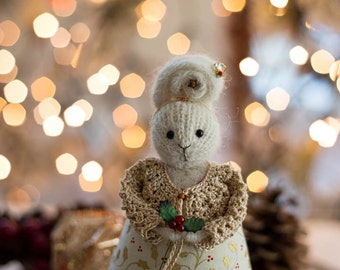 Christmas Gift for Her, Christmas Decoration, Stuffed Bunny Rabbit, X-mas Home Decor, Knitted Ornament, Knitted Art Doll, Stuffed Animal