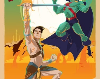 Modern Mythological Mash-up, John Carter and Martian Manhunter Poster