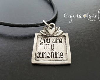 You Are My Sunshine Necklace, You Are My Sunshine Jewelry, Necklace for Daughter, Girlfriend Necklace, Christmas Gift for Wife, Choker Gift