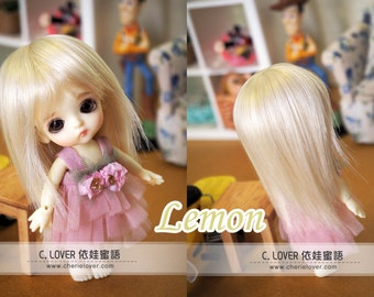 bjd doll girl wig W-11 (3 colors) 1/12 lati white fl pukipuki