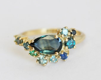 Blue Sapphire Ring, One Of A Kind Cluster Engagement Ring, Pear Sapphire Ring, Green Blue Sapphire Ring, Cluster ring