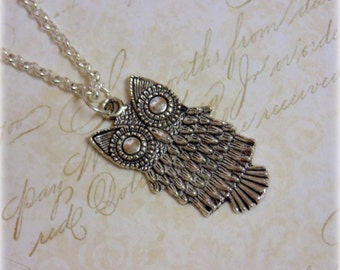 Owl Necklace - Silver Plated, Simple Everyday Style