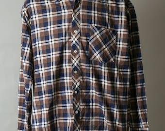 30% OFF PLAID long Sleeve Checked Flannel Shirt / Mens chest pocket shirt / Buttoned up shirt / Board Grunge Gentleman Bearded man Woodcutte