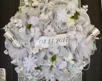 Wedding Wreath, Wedding Decoration, Bridal Shower Decoration, Engagement Party Decor, Door Hanger, Wreath for Bridal Shower, Wedding Gift