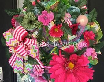 Floral Wreath, Summer Wreath, Spring Wreath, Front door Wreath, Whimsical Wreath, Large Wreath, Door Hanger