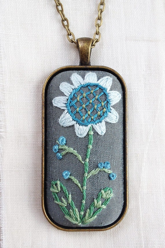 Custom Embroidered / Botanical Jewelry / Bestfriend Necklace / Colorful Necklace / Pendant / Embroidery Necklace / Blue Embroidered Necklace