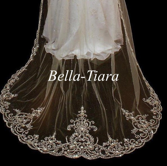 FREE BLUSHER Beaded Wedding Veil Cathedral Beaded Veil