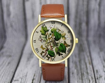 Vintage Butterflies Illustration Watch | Leather Watch | Ladies Watch | Gift for Her | Gift Idea | Christmas Gift | Fashion Accessories