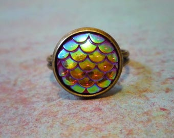 Red Mermaid scale ring, dragon scale ring, adjustable ring, shimmer mermaid ring, mermaid jewelry, dragon jewelry, resin scale jewelry