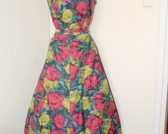50s Vintage Pixelated Floral Swing Dress