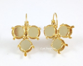 8mm ss39 Inverted Triangle Earrings Base Gold Plated Leverback Earrings Settings, Nickel Free