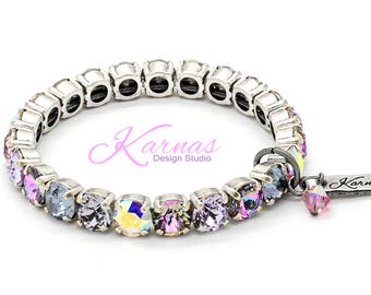 COOL & CASUAL 8mm Crystal Chaton Stretch Bracelet Made With Swarovski *Pick Your Finish *Karnas Design Studio *Free Shipping