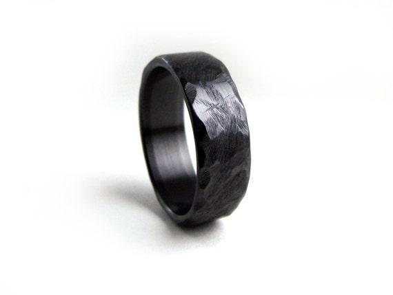 Black Wedding Band Hammered Ring Zirconium