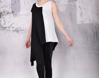 Top, Black top, extravagant tunic top, asymmetric tunic top, plus size tunic top, short sleeves top, black and white top - UM-104-VL