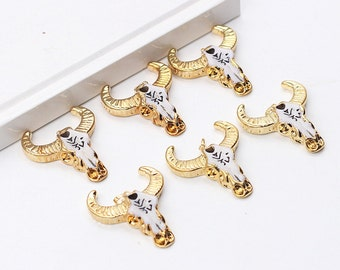 Bull Skull Pendants -- Small Faux Cattle Head Pendant With Electroplated Gold Edge Head Longhorn Cattle Western Boho YHA-118