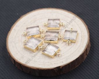 Small Clear Quartz Connectors -- With Electroplated Gold Edge Charms Wholesale Supplies YHA-267