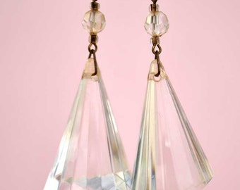 Huge 60s faceted lucite (or resin) cone earrings