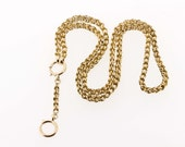 14K Yellow Gold Double Link Pocket Watch Chain/Necklace