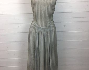 20s 30s flapper  luxury Utility Label silver striped evening Dress