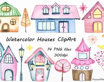 Watercolor Houses Clipart, Homes, Neighborhood, Watercolor clip art, digital houses, PNG, For Personal and Commercial Use