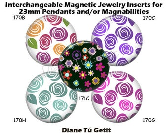 "Magnet Jewelry Inserts, Magnet Inserts fits Magnabilities, Interchangeable Magnetic Inserts Flower Swirls Rainbow of Colors 1"" Round Button"