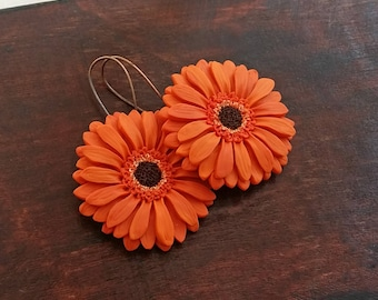 Orange gerbera daisy earrings handmade from polymer clay, flower jewelry, orange earrings, daisy earrings, Spring/ Summer jewelry, boho