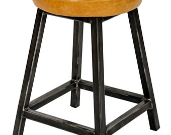 Leather, Padded Seat Low Square Frame Stool 'Linda'