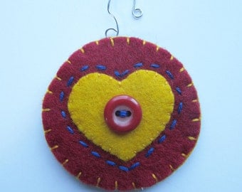 Heart ornament, holiday ornament, red wool heart, appliqued heart