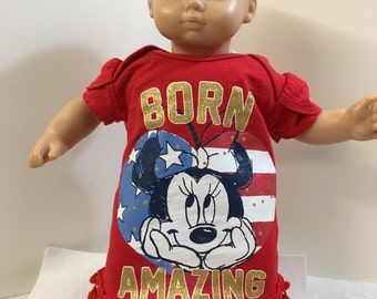 "15 inch Bitty Baby Clothes, DISNEY's Minnie ""Sparkling Born Amazing"" Dress, 15"" AG Doll Bitty Baby, Fits 16"" Cabbage Patch, Going to Disney!"